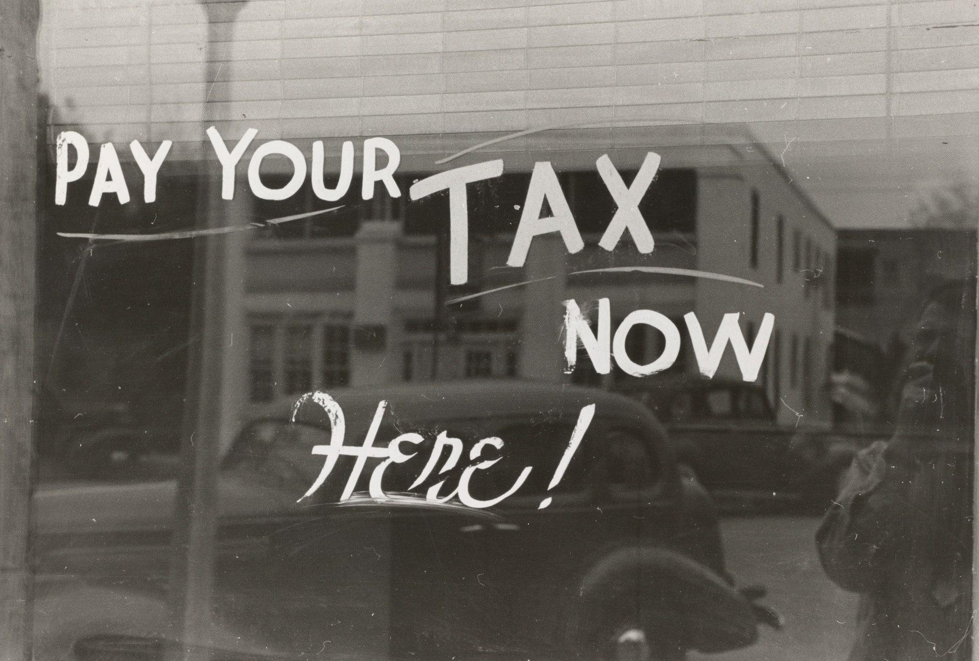 tax notice on window