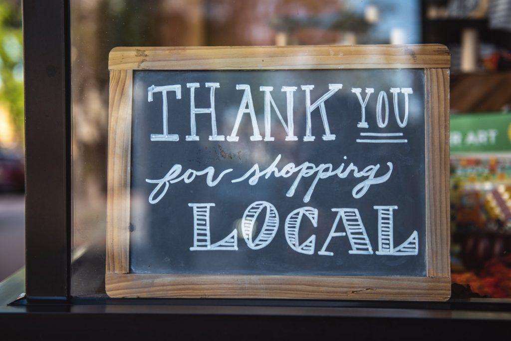 thank you for shopping local closed sign